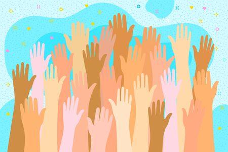 Concept of volunteering. Raised hands of many multinational people. Flat design, vector illustration. Illusztráció
