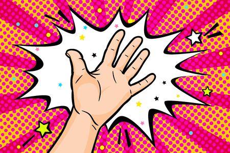 Gesture open palm. Hand gives or receives. Retro style pop art. Vector illustration. Illusztráció
