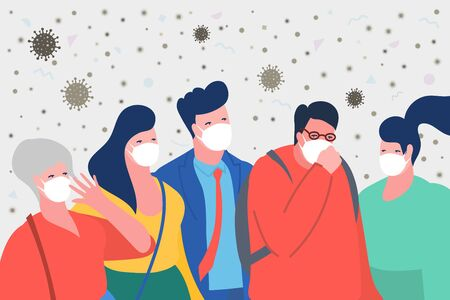 Concept of keep distance. Man coughing in a crowd. Sad people wearing protective face masks. Stop 2019-nCoV Novel Corona virus.