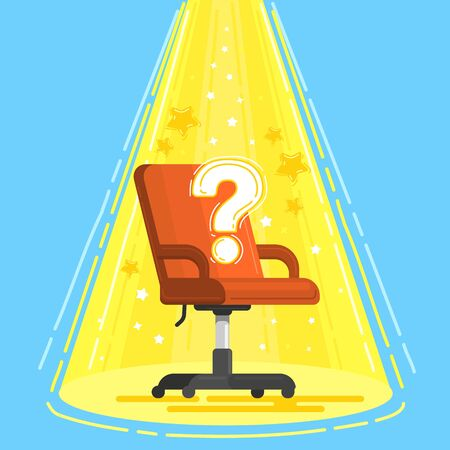 Concept of business hiring and recruiting. Office red chair with a question mark and icons. Illusztráció