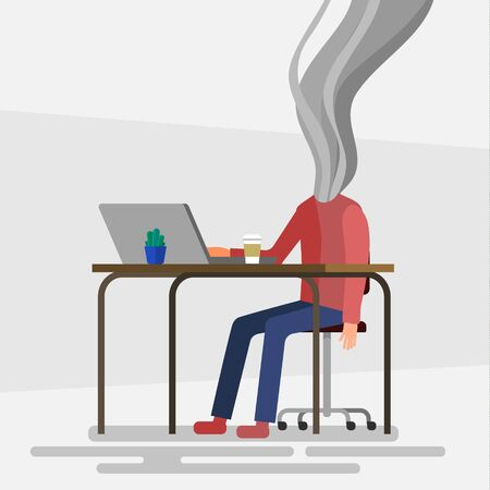 Concept of professional burnout, working man sits at a table and his head smokes. Flat design, vector illustration.