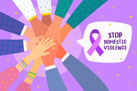 Concept of healthcare, charity, people and social problems. Hands with purple violet domestic violence awareness ribbon and hearts. Flat design, vector illustration.