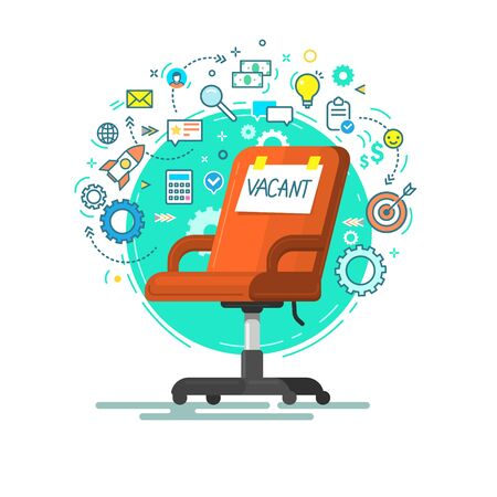 Concept of business hiring and recruiting. Office red chair with Vacant word and icons. Flat design vector illustration Illusztráció