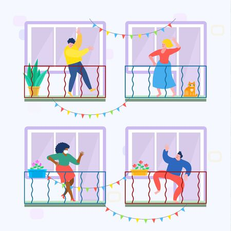 Concept of quarantine. People staing at home and dance on their balconies. Stay home concept. Self isolation, quarantine due to coronavirus. Illusztráció