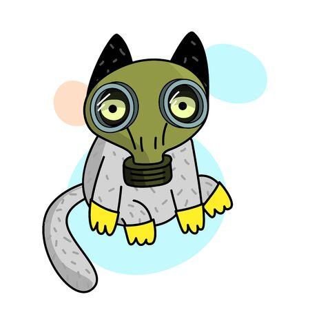 Concept of quarantine. Cartoon cat in gas mask . Self isolation, quarantine due to coronavirus.