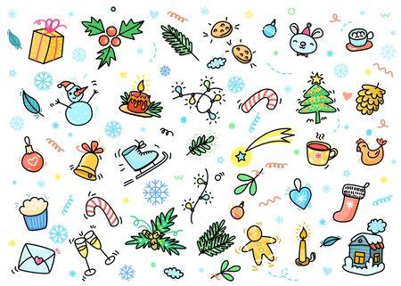 Christmas and New Year greeting card. Hand drawn Santa Claus Illusztráció