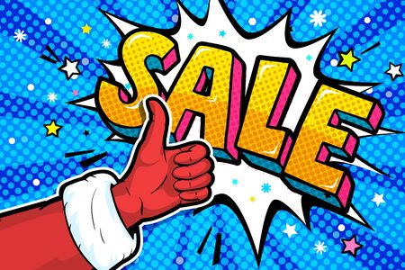 Santa Claus hand in red suit and mitten showing thumb up in pop art style. Sign like and Xmas Sale Message in pop art style