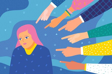 Concept of guilt, public censure and victim blaming. Sad or depressed woman surrounded by hands with index fingers pointing at her. Flat design, vector illustration.