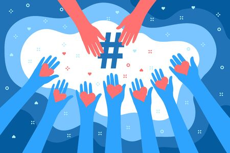 Concept of Media influence. Hands with hearts and symbol of tag in blue color.