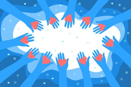 Concept of charity and donation. Give and share your love to people. Blue Hands holding a heart symbol on blue background. Flat design, vector illustration.