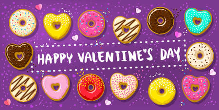 Donuts with Happy Valentines day note. Different donuts in shape of hearts and circle Illusztráció