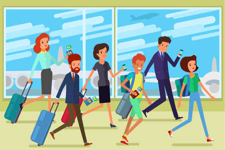 Concept of travel. People hurry up to the plane. Flat design, vector illustration.
