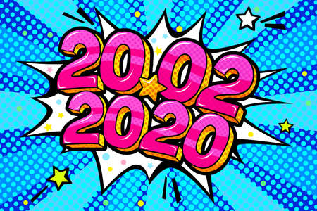 20 February 2020 banner. Numbers in pop art style. Vector illustration Illusztráció