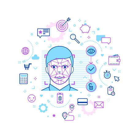 Concept of Face ID in line art style. Man Face Recognition. Abstract Tech Background with Icons. Vector illustration. Illusztráció