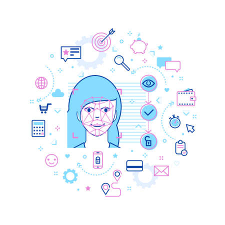 Concept of Face ID in line art style. Woman face Recognition. Abstract Tech Background with Icons. Vector illustration.
