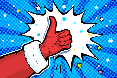 Santa Claus hand in red suit and mitten showing thumb up on blue background. The gesture of Like in pop art style. Vector illustration
