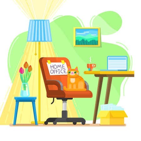 Concept of Home Office. Interior with Red chair and work place at home. Flat design vector illustration