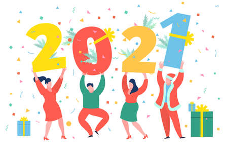 New Year party concept. Business people dancing and holding numbers 2021. Preparing to meet the new year. Flat design, vector illustration.