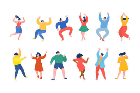 Dancing people funny cartoon style. Men and women in free movement poses. Flat design. Vector illustration.