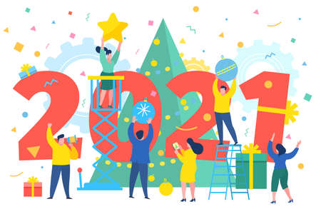 New Year business concept. Business people building a numbers 2021. Preparing to meet the new year . Office Team are preparing to meet the new year. Flat design, vector illustration. Illusztráció