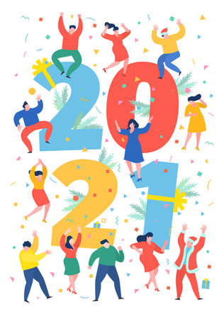 New Year party concept. Business people dance next to numbers 2021. Preparing to meet the new year. Flat design, vector illustration.