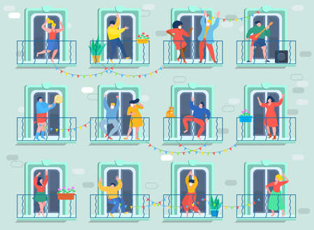 Concept of quarantine. People staing at home and dance on their balconies. Stay home concept. Self isolation, quarantine due to coronavirus. Vector illustration. Illusztráció