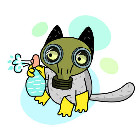 Concept of quarantine. Cartoon cat in gas mask and holds disinfector. Illusztráció