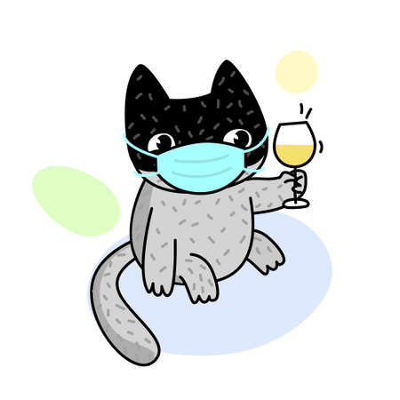 Concept of quarantine. Cartoon cat in medical mask and holds a glass of wine. Self isolation, quarantine due to coronavirus.