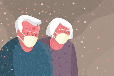 Concept of quarantine. Sad old people wearing protective face masks. 2019-nCoV Novel Corona virus.