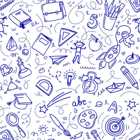 Concept of education. School background with hand drawn school supplies