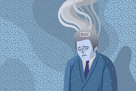 Concept of professional burnout, sad and tired man with smoke above his head.