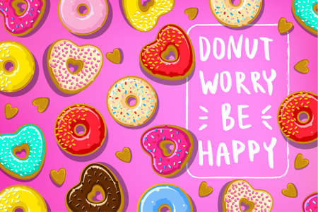 Donuts with Donut worry be happy note.