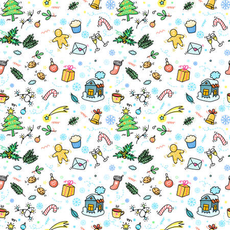 Christmas and New Year Hand drawn seamless pattern Illusztráció