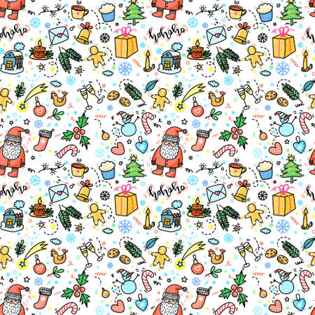 Christmas and New Year Hand drawn seamless pattern Stock fotó - 154451072
