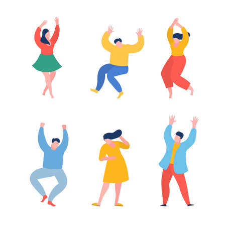 Dancing people funny cartoon style. Men and women in free movement poses. Flat design. Illusztráció