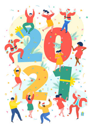 New Year party concept. Business people dance next to numbers 2021. Preparing to meet the new year. Illusztráció