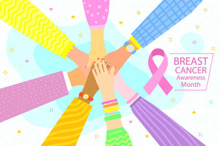 Concept of National Breast Cancer Month. Women with stack of hands showing unity and teamwork, top view.