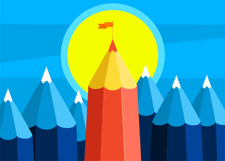 Concept of creative success. Goal achievement, mountain with flag.