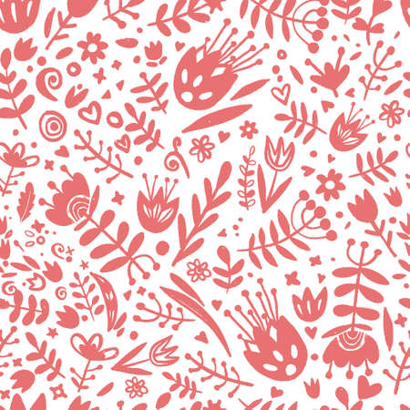 Floral seamless pattern. Hand drawn red flowers.