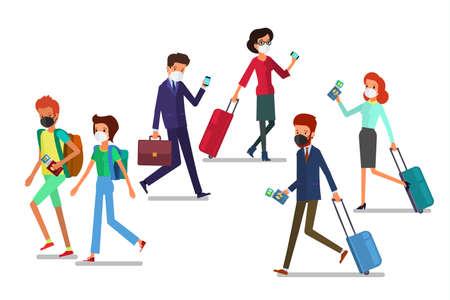 Concept of travel. People hurry up to the plane. Vektoros illusztráció