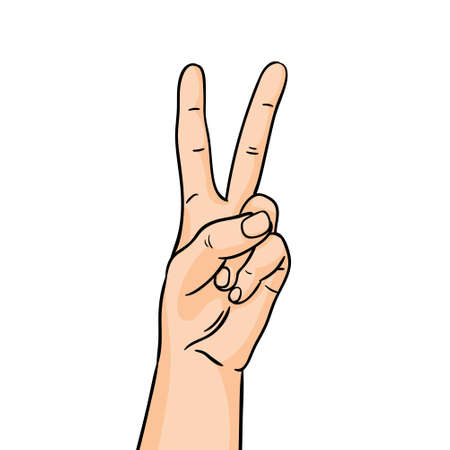 The gesture of victory in line art. Hand showing forefinger and middle finger up on white background.