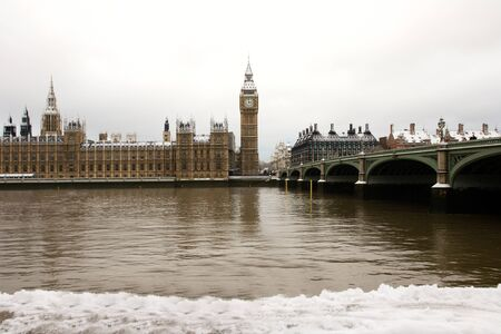 Snow Covered Westminster seen from South Bank Stock Photo - 9877323