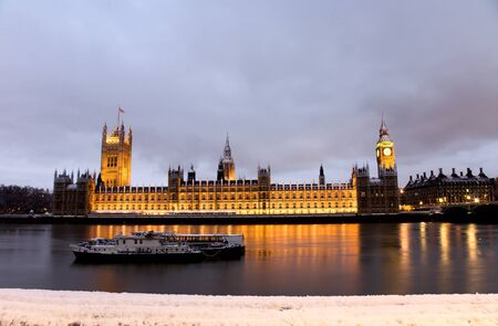 Snow Covered Westminster seen from South Bank Stock Photo - 9877656