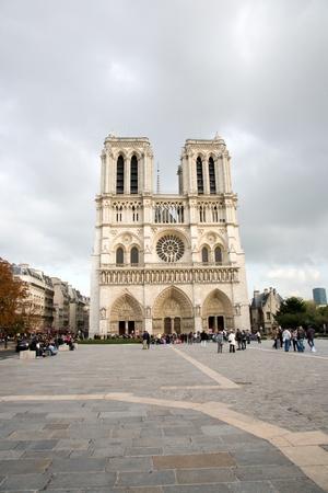Notre Dame de Paris is the most famous Catholic Cathedral in Paris.  photo