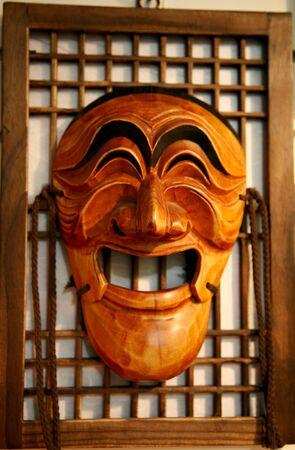 Seoul, South Korea - April 23, 2011: Wooden Hahoe Mask, Hahoetal in Korean, in Insadong. Hahoe masks are labelled South Korean national treasure.