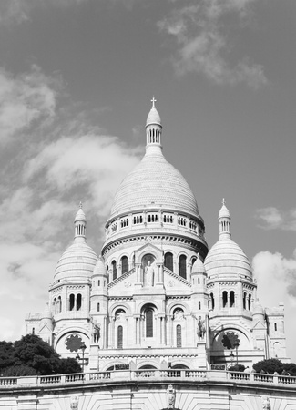 The Basilica of the Sacred Heart of Paris seen from Montmartre hill.  photo