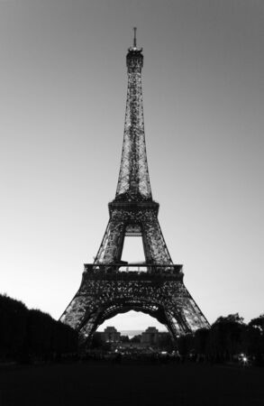 Paris, France - September 25, 2010: Eiffel tower at night. This prominent tower was built in 1889 and is the most iconic symbol of Paris and France.