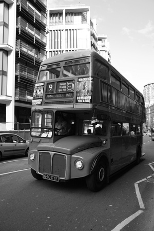 London, UK - August 30, 2010: Route Master Bus in the street of London. Route Master Bus is the most iconic symbol of London as well as London's Black cabs.       Stock Photo - 10339604