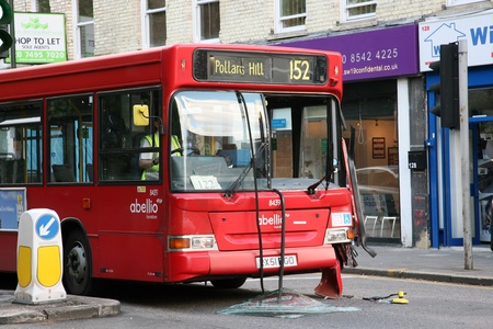 London, UK - May 31, 2011: Bus appeared to be out of service after traffic accident around South Wimbledon