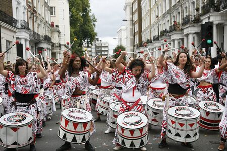 London, UK - August 29, 2011: Second day of 2011 Notting Hill Carnival. This is one of Europes largest festival and parade take place for two days. First day is known as Childrens Day.